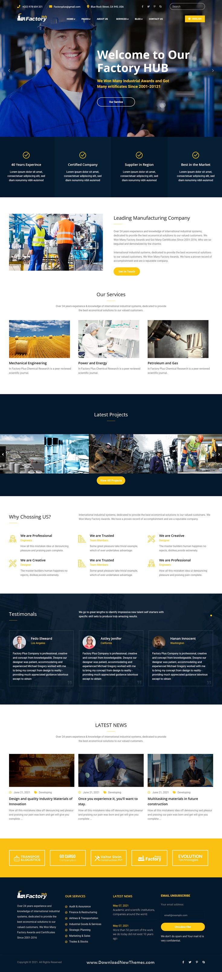 Factory HUB - Manufacturing Industry HubSpot Theme