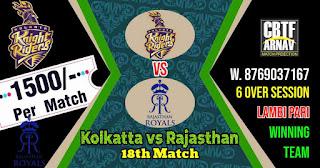 18th Match RR vs KKR Vivo IPL 2021 Today Match Prediction 100% Sure Winner