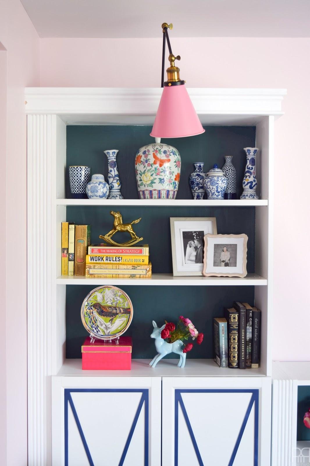boho styled bookcases