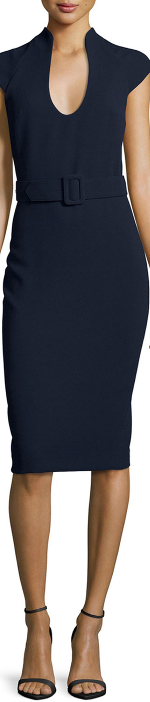 Badgley Mischka Cap-Sleeve Belted Crepe Sheath Dress, Navy