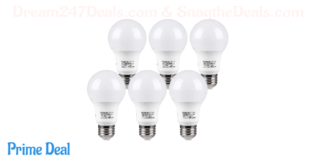 TORCHSTAR A19 LED Light Bulb, UL Listed 9W (60W Equivalent), E26 Standard Base 820lm, 5000K Daylight for Desk Lamp, Floor Lamp, Ceiling Fan, 3 Years Warranty, Pack of 6