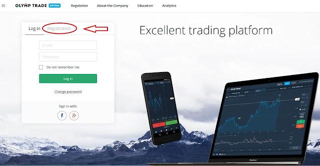 انشاء حساب في منصة Olymp trade