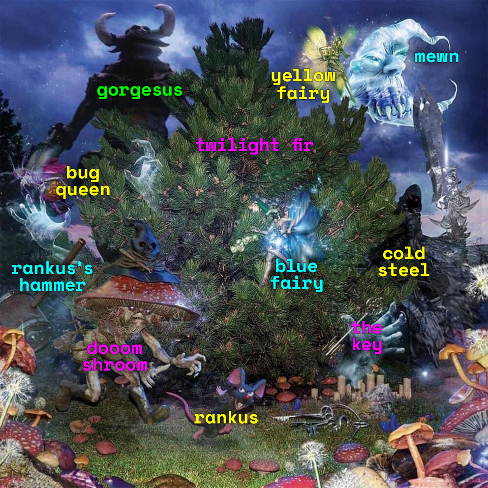 Edit of the 100 Gecs and the Tree of Clues album cover that labels the characters depicted on it
