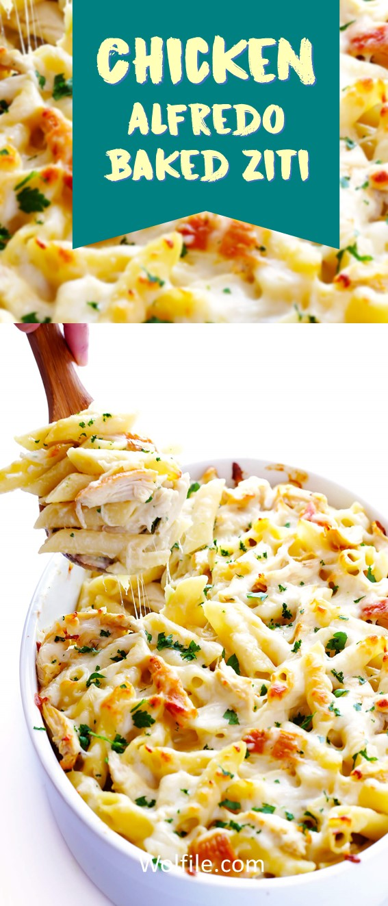 CHICKEN ALFREDO BAKED ZITI #Chicken #Baked