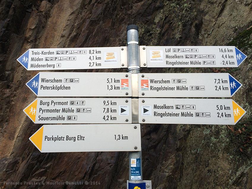 placa de sinalização do castelo de burg-eltz