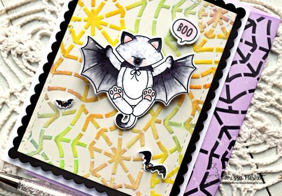 Glow-in-the-dark Spiderweb card by Larissa Heskett | Batty Newton Stamp Set and Spiderweb Stencil by Newton's Nook Designs #newtonsnook #handmade