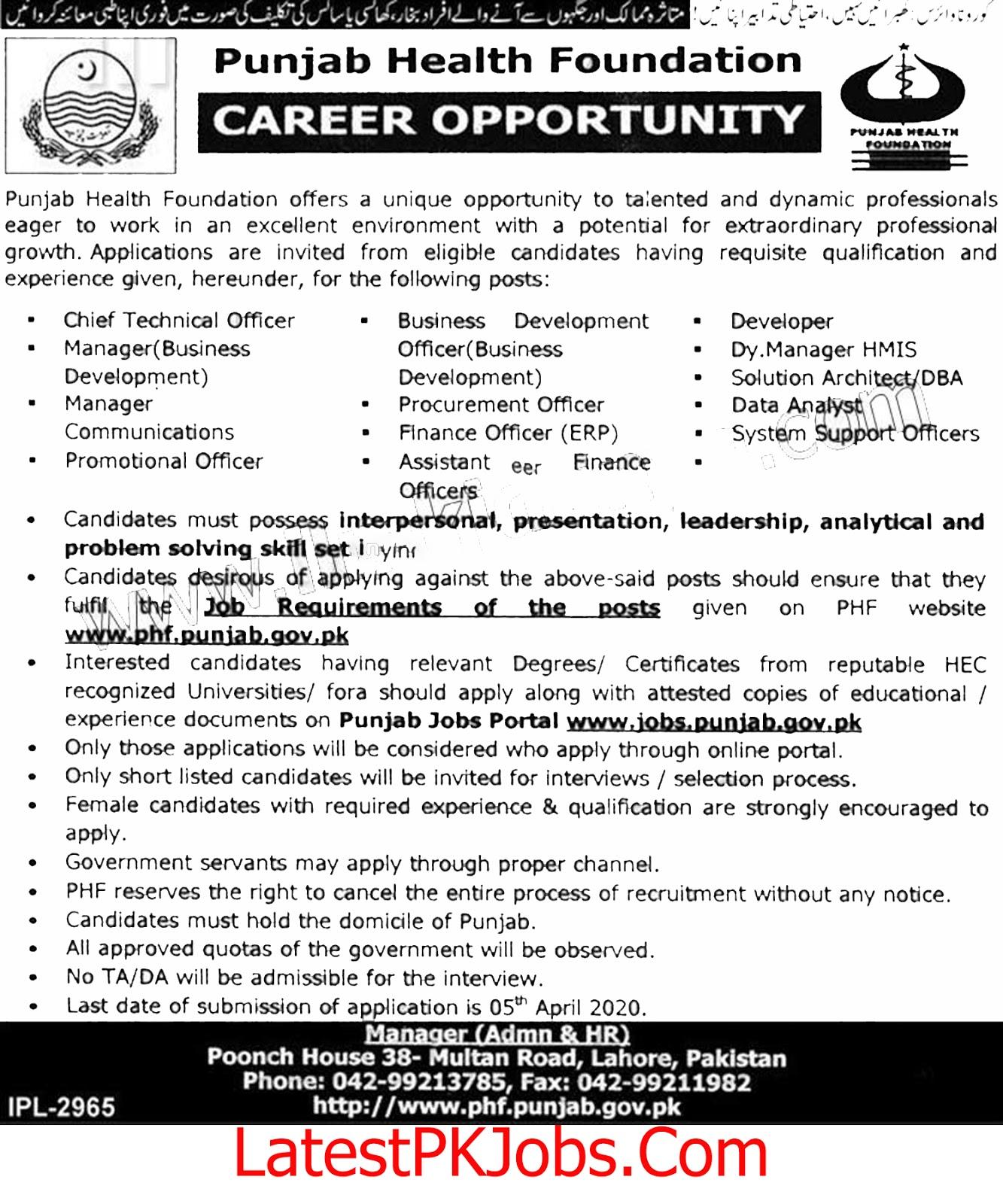 Health Department Punjab Jobs 2020 - LatestPKJobs