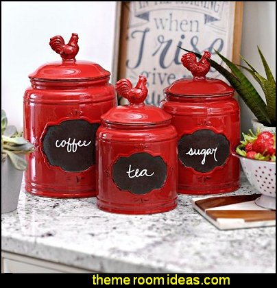 Red Ceramic Round Chalkboard Rooster Canister Jars