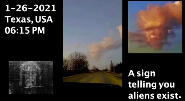 ¡Cara en las nubes mirando!  Texas, EE. UU. 1-26-2021