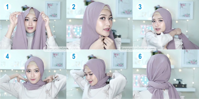 Style Pertama Tutorial Hijab Pasmina Simple