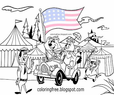 Characters Boo Boo and Yogi Bear coloring pages US campground big top tents kids cartoon circus car