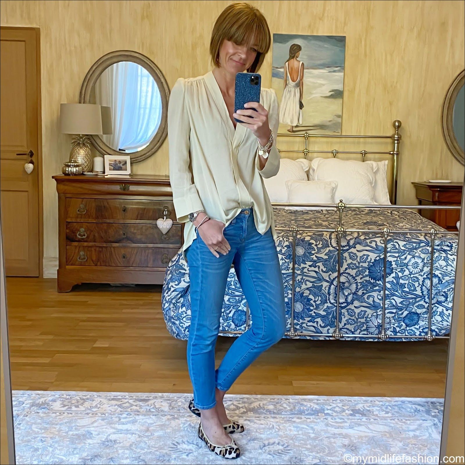 my midlife fashion, Isabel Marant blouse, j crew 8 inch toothpick jeans, French sole Henrietta cheetah print ballet shoes