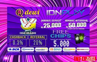 Promo Bonus Menarik Judi Ceme Keliling Online Server IDN Play QDewi.net