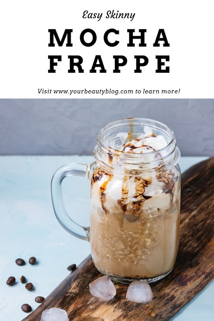 How to make an easy skinny mocha frappe recipe just like McDonald's at home. This healthy iced frozen coffee drink drinks can be keto, dairy free, or vegan with almond milk. Make it low carb and sugar free with coconut sugar or liquid stevia. Add chocolate in this healthy homemade frozen coffee. How to make a mocha frappuccino at home. #mocha #coffee