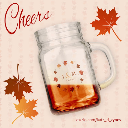 Maple leaves drinking jar from katzdzynes on Zazzle