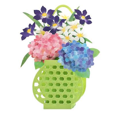 Hydrangea in Basket Planter Pop Up Decorative Greeting Card