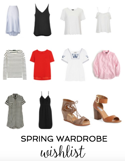 silk blouses, gingham, stripes, sandals, wedges, scallops, embroidery