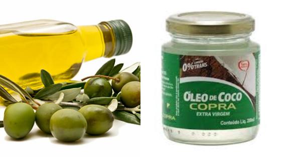 umectacao azeite e oleo de coco