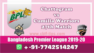 Who will win Today BPL T20, 27th Match Cumilla vs Chattogram - Cricfrog
