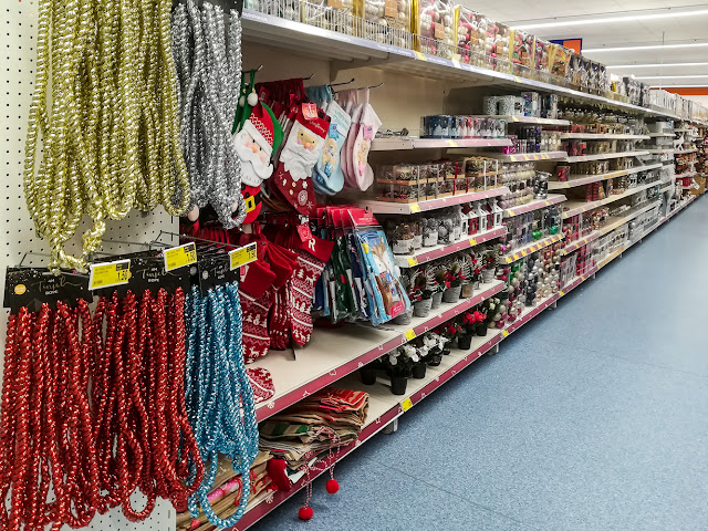 Photo of Christmas decorations for sale in Maryport's B&M store on Wednesday