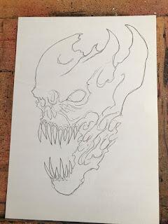 Ink Outline Demon Head