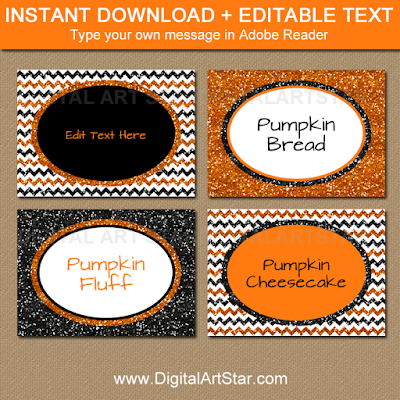 printable labels to use as Halloween candy buffet labels, Halloween place cards, Halloween food labels