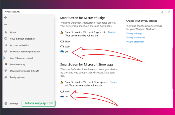 Tutorialengkap 7 cara mematikan smartscreen pada windows 10