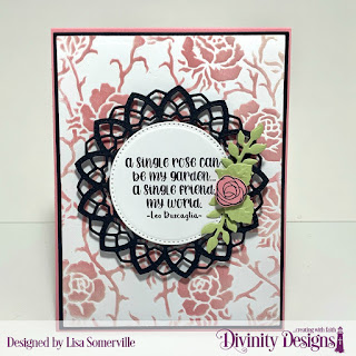 Stamp/Die Duos: My World Custom Dies: A2 Portrait Card Base with Layer, Matting Rectangle, Delicate Doily, Pierced Circles, Bitty Blossoms, Pretty Posies (leaves) Other: Mixed Media Stencil (dry embossed)