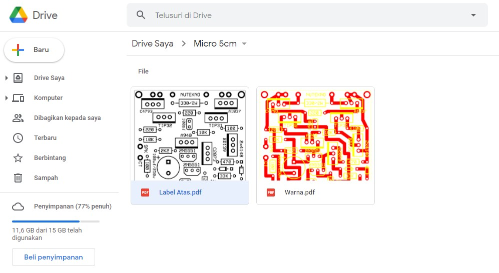 File yang Akan Dihapus pada Google Drive