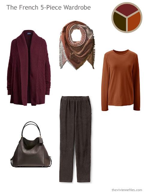 French 5-Piece Wardrobe in burgundy, russet and dark chocolate brown
