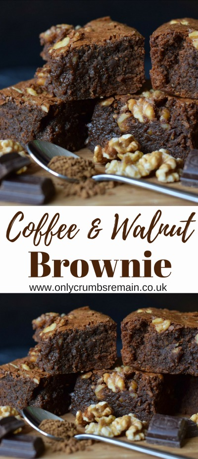 How to make coffee and walnut chocolate brownies, packed with healthy walnuts and oodles of chocolate.  They're the perfect quick bake when time is limited