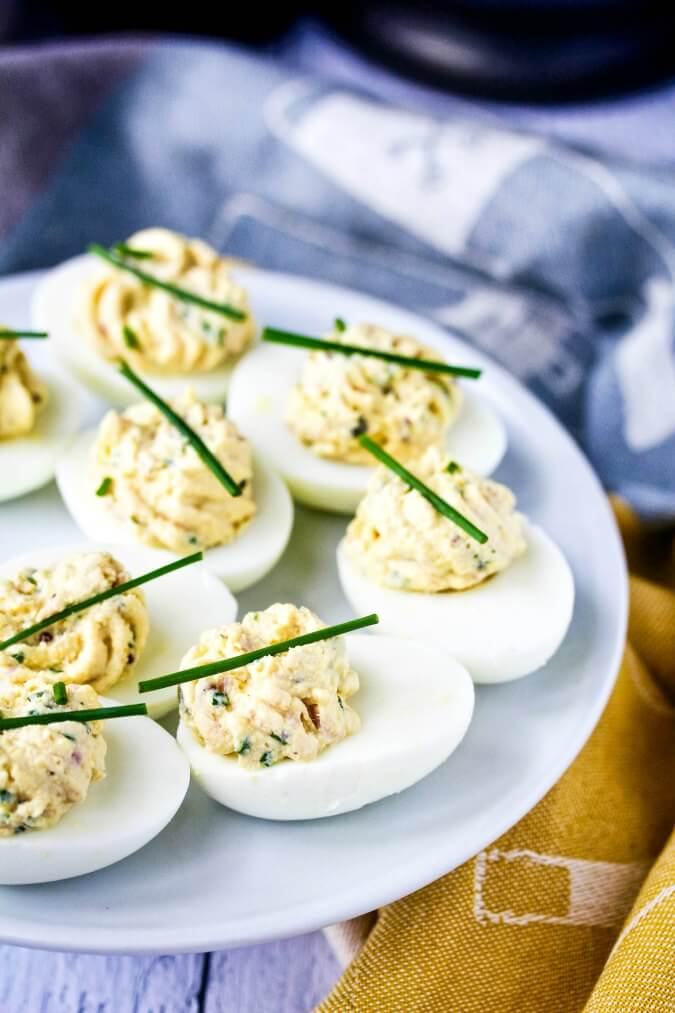 Deviled eggs with tuna, chives, and capers