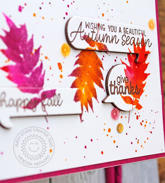 Sunny Studio Stamps: Comic Strip Speech Bubbles Dies Elegant Leaves Beautiful Autumn Card by Vanessa Menhorn