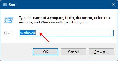 فتح نافذة خصائص النظام عن طريق نافذة تشغيل