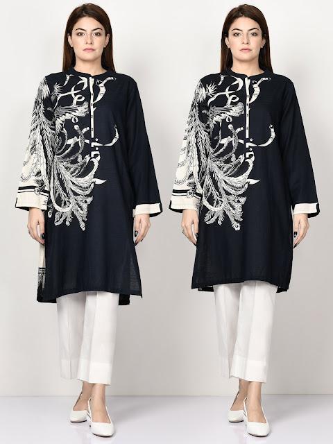 Limelight Black color printed khaddar shirt winter pret