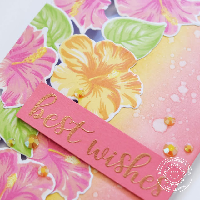 Sunny Studio Stamps: Hawaiian Hibiscus Everyday Greetings Floral Best Wishes Card by Lexa Levana