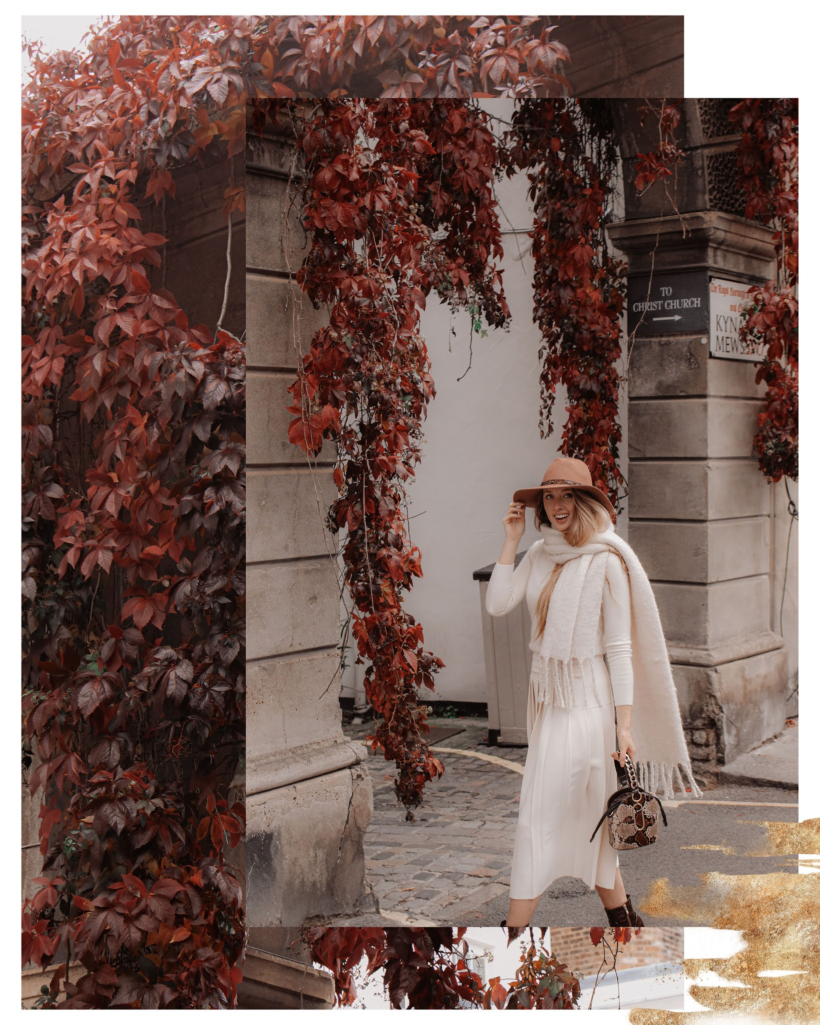 Fashion blogger all white winter styling