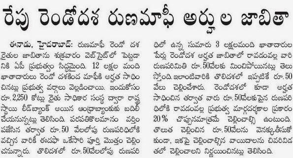 2nd phase AP Raithu Runa Mafi selected Loan Waivers list
