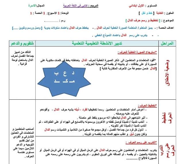 جذاذات الكتابة الاسبوع 1 من الوحدة 1 حرف الدال للمستوى الاول مرجع كتابي في اللغة العربية