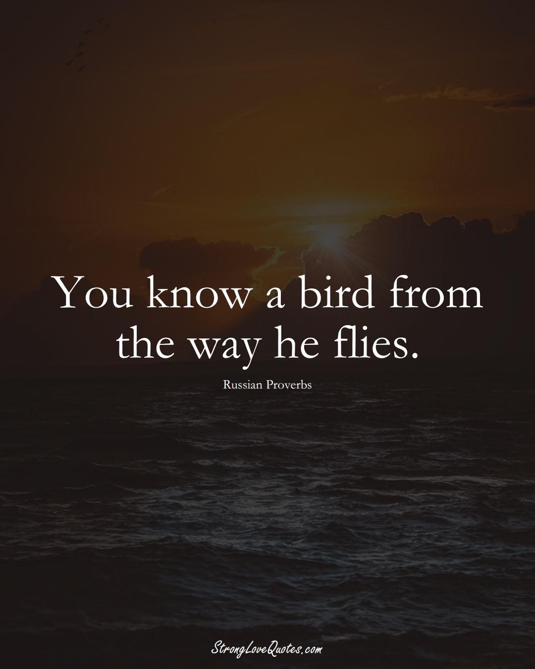 You know a bird from the way he flies. (Russian Sayings);  #AsianSayings