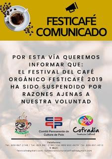 Suspenden Festicafé 2019  por falta de patrocinio