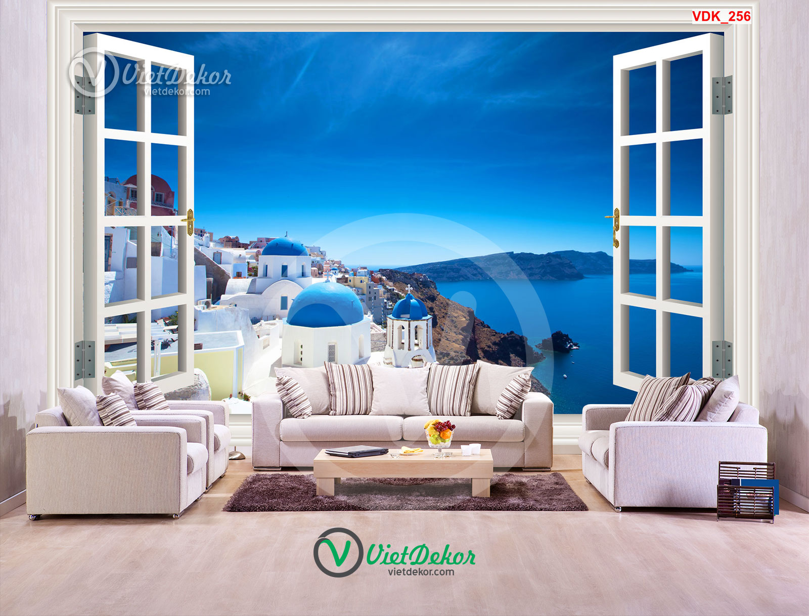 Tranh 3d dán tường cửa sổ