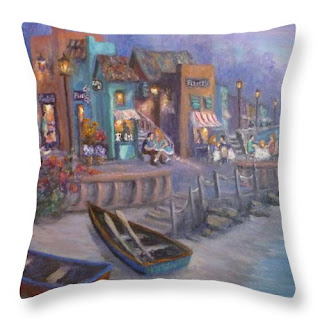 Tuscan home decor throw pillow with boats by the sea colorful