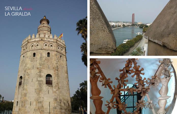Exterior de la Torre del Oro, vistas de la Torre Sevilla desde la Torre del Oro, y ventana interior que da a la escalera de caracol.