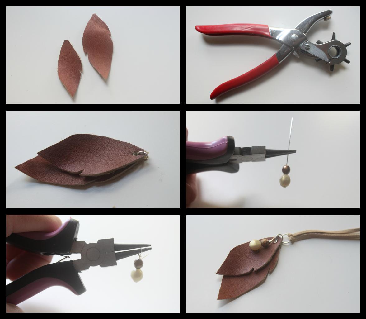 Eat Sleep Make Craft Leather Leaves Necklace