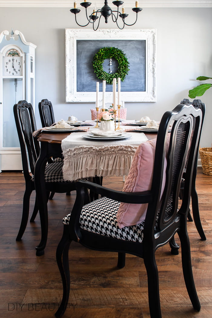 dining room with black and pink accents