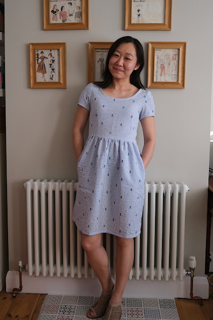 French Navy Orla Dress Nautical Seersucker