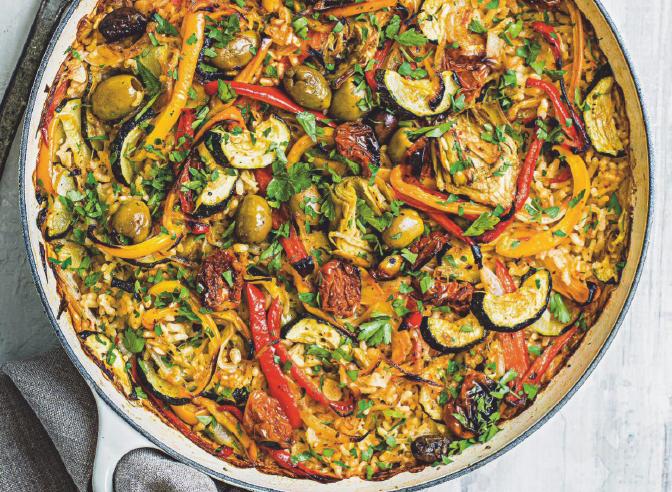 Sunblush tomato and olive baked paella