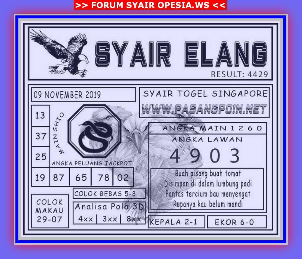 Kode syair Singapore Sabtu 9 November 2019 75