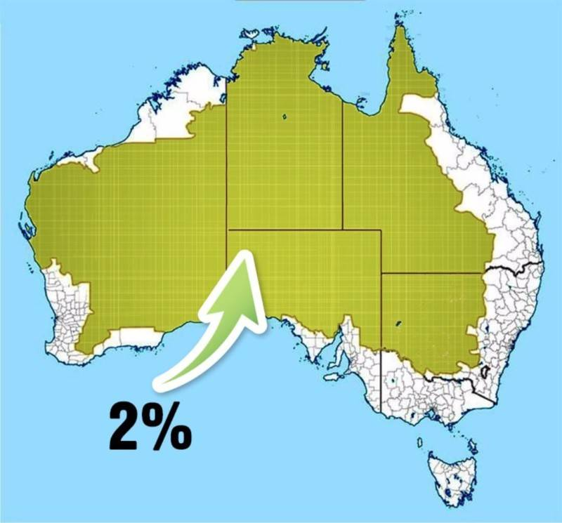 Map of the 2% of Australia's population on the map